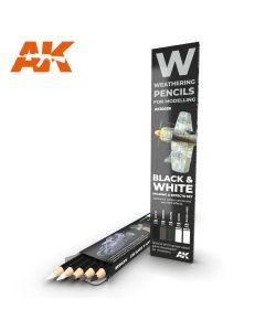 AK Interaktive, ak-interactive-10039-weathering-pencils-for-mdoelling-black-and-white, AKI10039