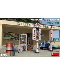 Plastbyggesett, miniart-35598-german-gas-station-1930-40s-scale-1-35, MIA35598