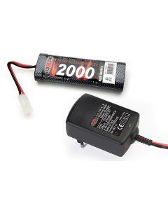 RC Ladere og Batterier, maxam-sp-0700-7-2-volt-2000-mah-nimh-batteri-1-a-lader, MAXSP0700