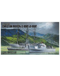 Plastbyggesett, aoshima-05657-christian-radich-s-boat-and-u-boat-iron-clad-scale-1-350, AOS05657