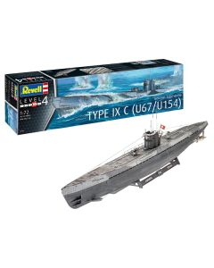 Plastbyggesett, revell-05166-german-submarine-type-ixc-u67-u154-scale-1-72, REV05166