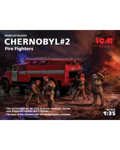 Plastbyggesett, icm-35902-chernobyl-2-fire-fighters-complete-diorama-with-backdrop-scale-1-35, ICM35902