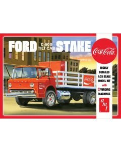 Plastbyggesett, amt-1147-ford-c600-stake-bed-tilt-cab-coca-cola-with-2-coke-vending-machines-scale-1-25, AMT1147