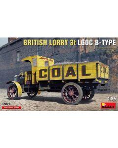 Plastbyggesett, miniart-38027-british-3-ton-lorry-lgoc-b-type-scale-1-35, MIA38027