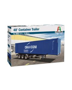 Plastbyggesett, italeri-3951-40-feet-container-trailer-scale-1-24, ITA3951