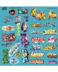 Plastbyggesett, ak-interactive-ak9091-assorted-graffiti-decals, AKI9091