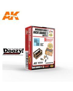 Plastbyggesett, ak-interactive-doozy-dz029-1940-1980s-jack-daniels-wooden-boxes-and-bottles-scale-1-24, AKIDZ029
