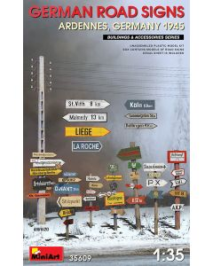 Plastbyggesett, miniart-35609-german-road-signs-ardennes-germany-1945-scale-1-35, MIA35609