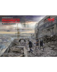 Plastbyggesett, icm-35903-chernobyl-3-rubble-cleaners-complete-diorama-with-backdrop-scale-1-35, ICM35903