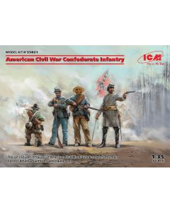 Plastbyggesett, icm-35021-american-civil-war-confederate-infantry-scale-1-35, ICM35021