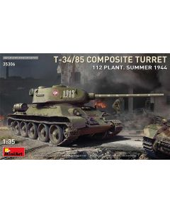 Plastbyggesett, miniart-35306-t-34-85-composite-turret-plant-112-summer-1944-scale-1-35, MIA35306