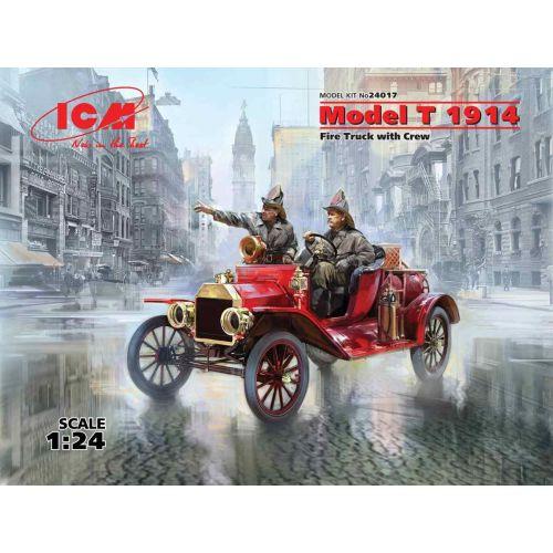 Plastbyggesett, icm-24017-ford-model-t-1914-fire-truck-with-crew-scale-1-24, ICM24017