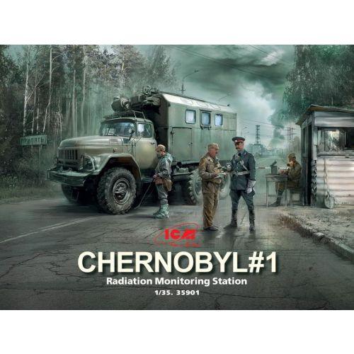 Plastbyggesett, icm-35901-chernobyl-1-radiation-monitoring-station-complete-dirorama-with-backdrop-scale-1-35, ICM35901