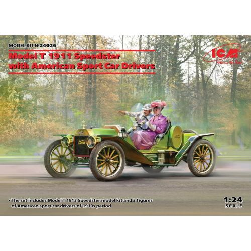 Plastbyggesett, icm-24026-ford-model-t-1913-speedster-with-american-sport-car-drivers-scale-1-35, ICM24026